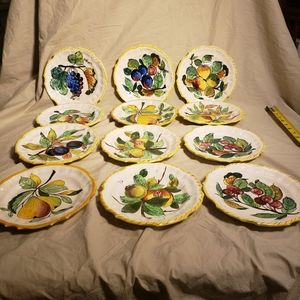 Vintage set of 12 Handmade and Painted Plates